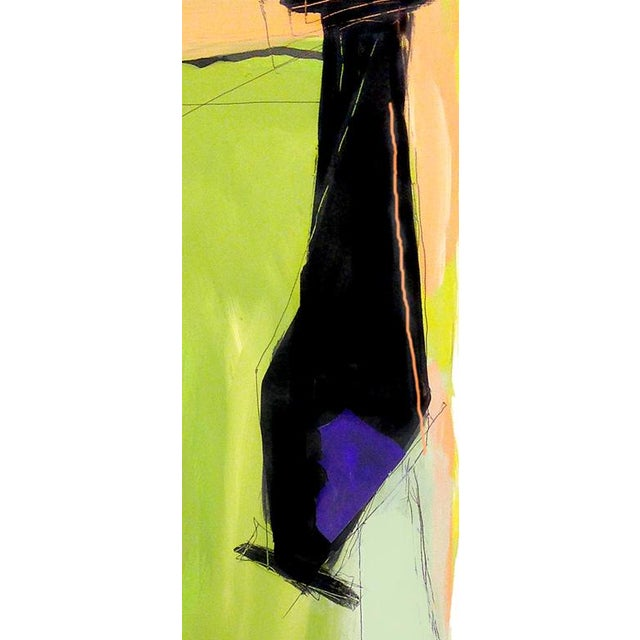 Abstract Contemporary Abstract Vertical Mixed Media Painting For Sale - Image 3 of 4