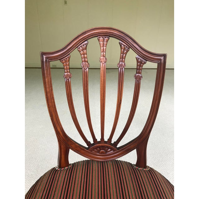 Hepplewhite Mahogany Shield Back Dining Chairs - Set of 4 For Sale In Portland, OR - Image 6 of 9