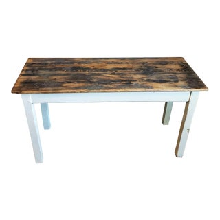 Antique Farmhouse Distressed Painted Harvest Table For Sale