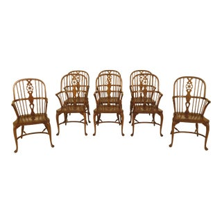 Baker Oak Windsor Dining Room Arm Chairs - Set of 8 For Sale