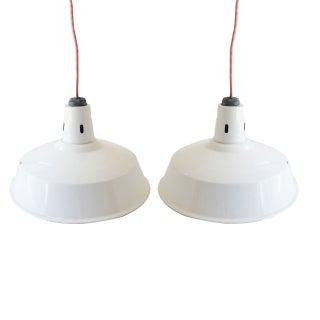 Porcelain Enamel Pendant Lamps - A Pair For Sale