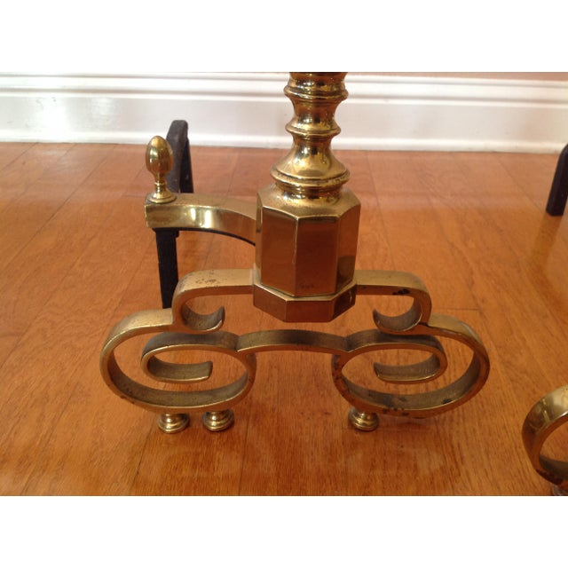 20th Century Traditional Brass Fireplace Andirons - a Pair For Sale - Image 10 of 12