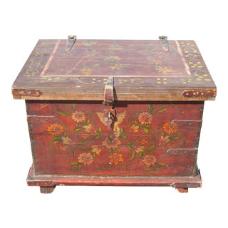 1950s Mid Century Modern Rustic Red Chest Trunk