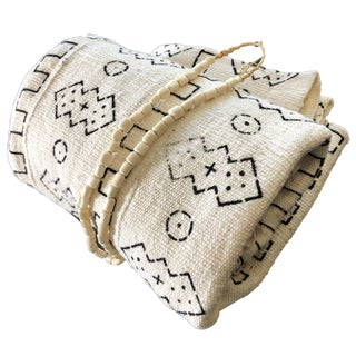 African Black & White Mud Cloth Textile Mali & Trade Bone Necklace For Sale