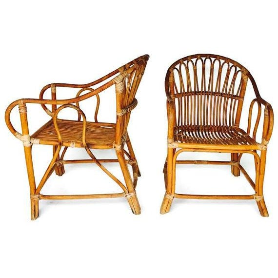 Mid Century Modern Bamboo Chairs Sculpted Bent Bamboo Franco Albini Style - a Pair For Sale - Image 5 of 11