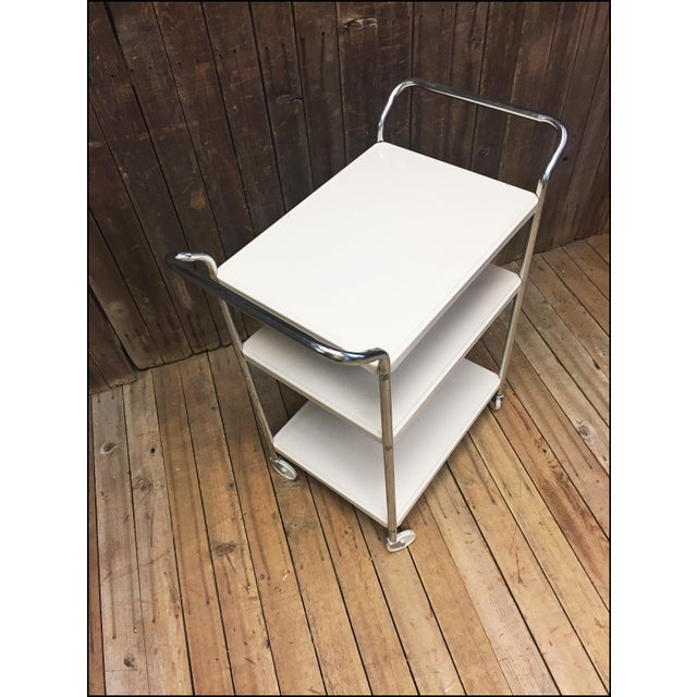 Mid Century Modern Beige Metal Cosco 3 Tier Cart - Image 6 of 11