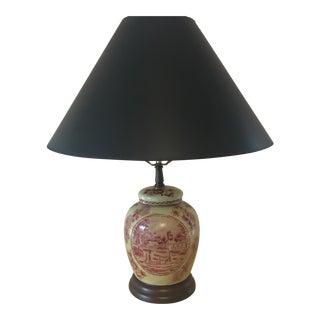 Pink Transferware Lamp