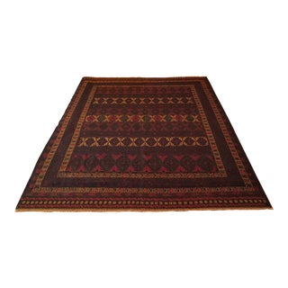 Flat Woven Hand Knotted Afghan Rug - 6′2″ × 9'1″ For Sale