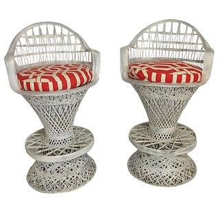 Russell Woodard Spun Fiberglass Barstools and Cushions - a Pair