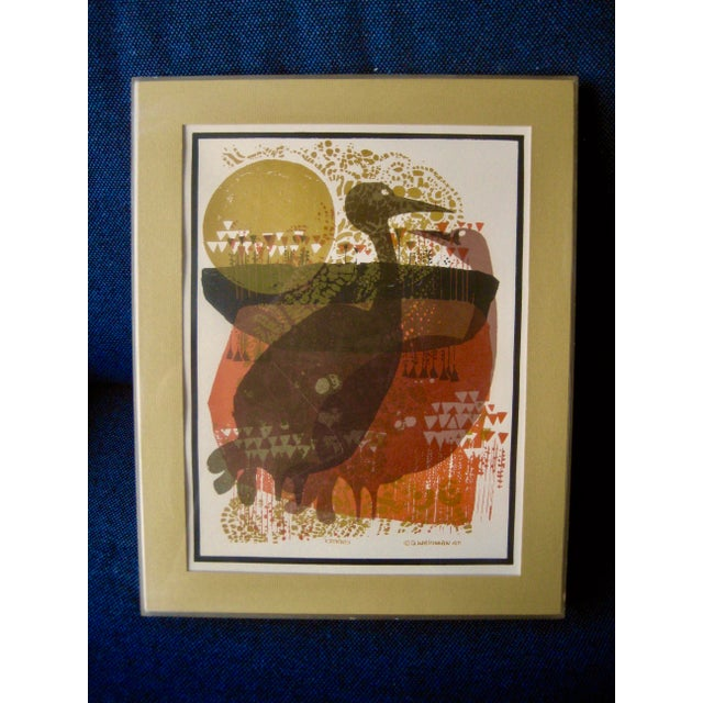 Here you have an original print made by the artist David Weidman in 1971 from one of his serigraphy called Cranes, very...