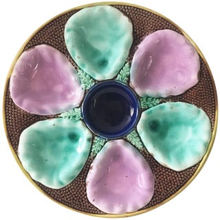 1890s English Victorian Majolica Oyster Plate
