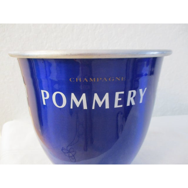 "Mid-century French metallic cobalt blue enamel and aluminum Pommery Champagne wine chiller. Words ""Champagne Pommery""..."
