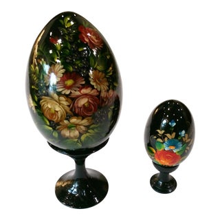 Vintage Hand Painted Russian Lacquer Ware Floral Eggs - a Pair For Sale