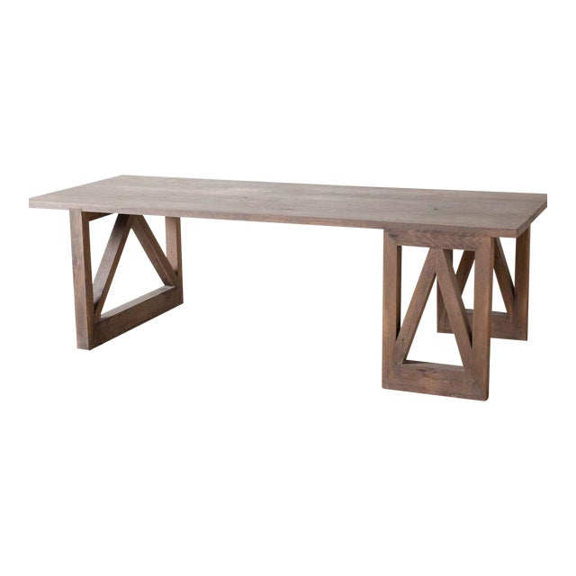 Contemporary Rectangular Oak V Dining Table For Sale