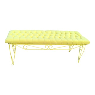 Vintage Mid-Century Yellow Tufted Bench Seat For Sale