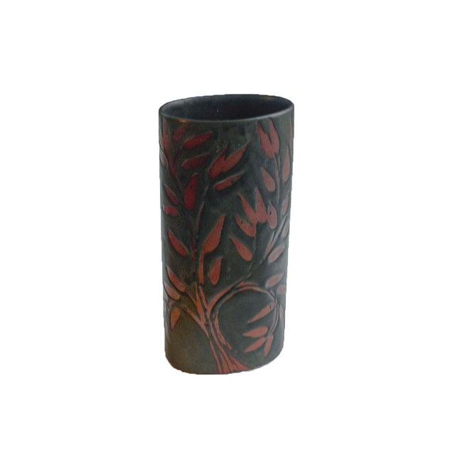 Ceramic Vintage Andersen Design Vase in Red Leaf on Ebony Glaze Pattern For Sale - Image 7 of 7