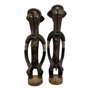 Kenya Male and Female Wooden Statues - a Pair For Sale
