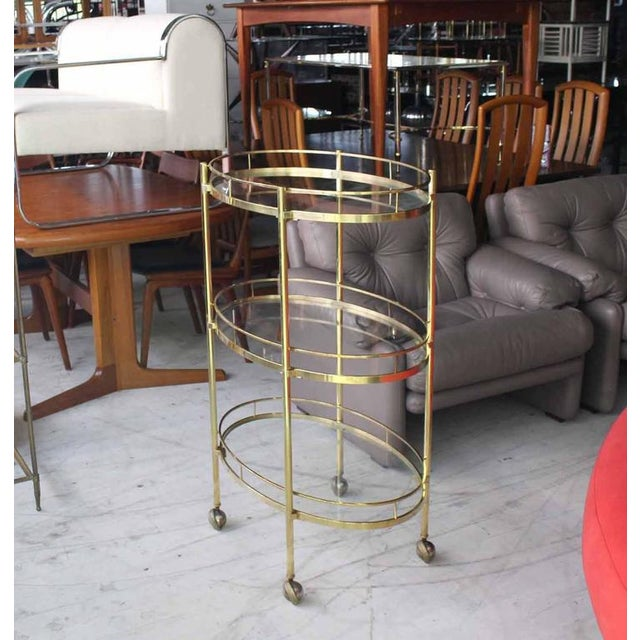Gold Three-Tier Brass Oval Tea Serving Cart For Sale - Image 8 of 8