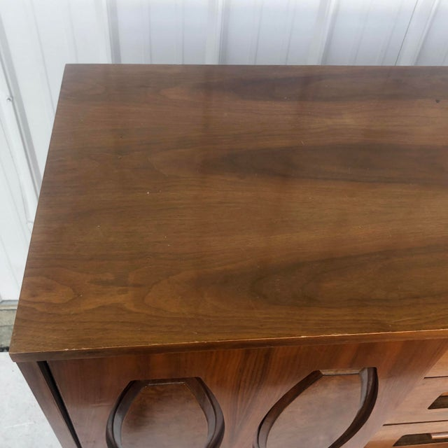 Wood Mid-Century Modern Sliding Front Highboy Dresser For Sale - Image 7 of 13