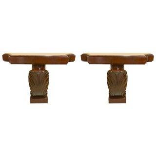 Pair of Mahogany Shell Motif Consoles by Grosfeld House