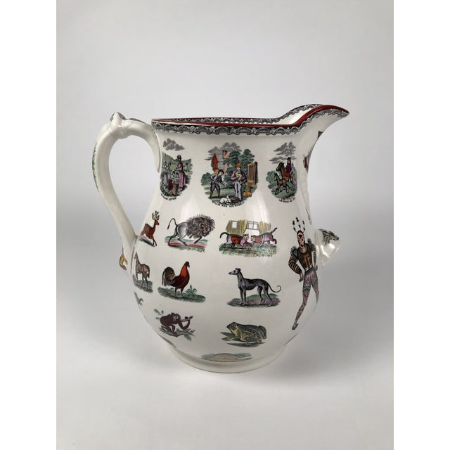 Giant 19th Century Staffordshire Pottery Harlequin Pitcher For Sale In Boston - Image 6 of 13