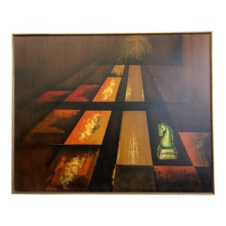 Beautiful Mid Century Modern Abstract Painting by Carlo of Hollywood For Sale