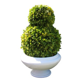 Arteriors Home Two Tier Topiary in White Porcelain Vase For Sale