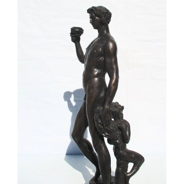1990s Bronze Bacchus and Fawn Sculpture For Sale - Image 5 of 10