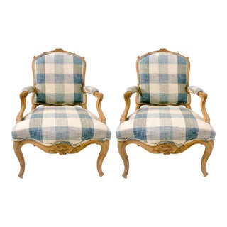 Carved French Bergere Chairs -A Pair For Sale