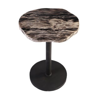 Petrified Wood Top W Iron Stand Accent Table For Sale