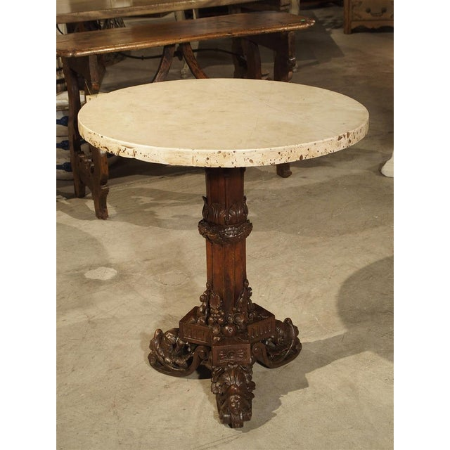Wood Antique Circular Genoese Carved Wood and Marble Table, Circa 1820 For Sale - Image 7 of 13