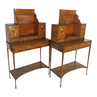 English Satinwood Painted Adam Style Desks Sideboards - a Pair For Sale