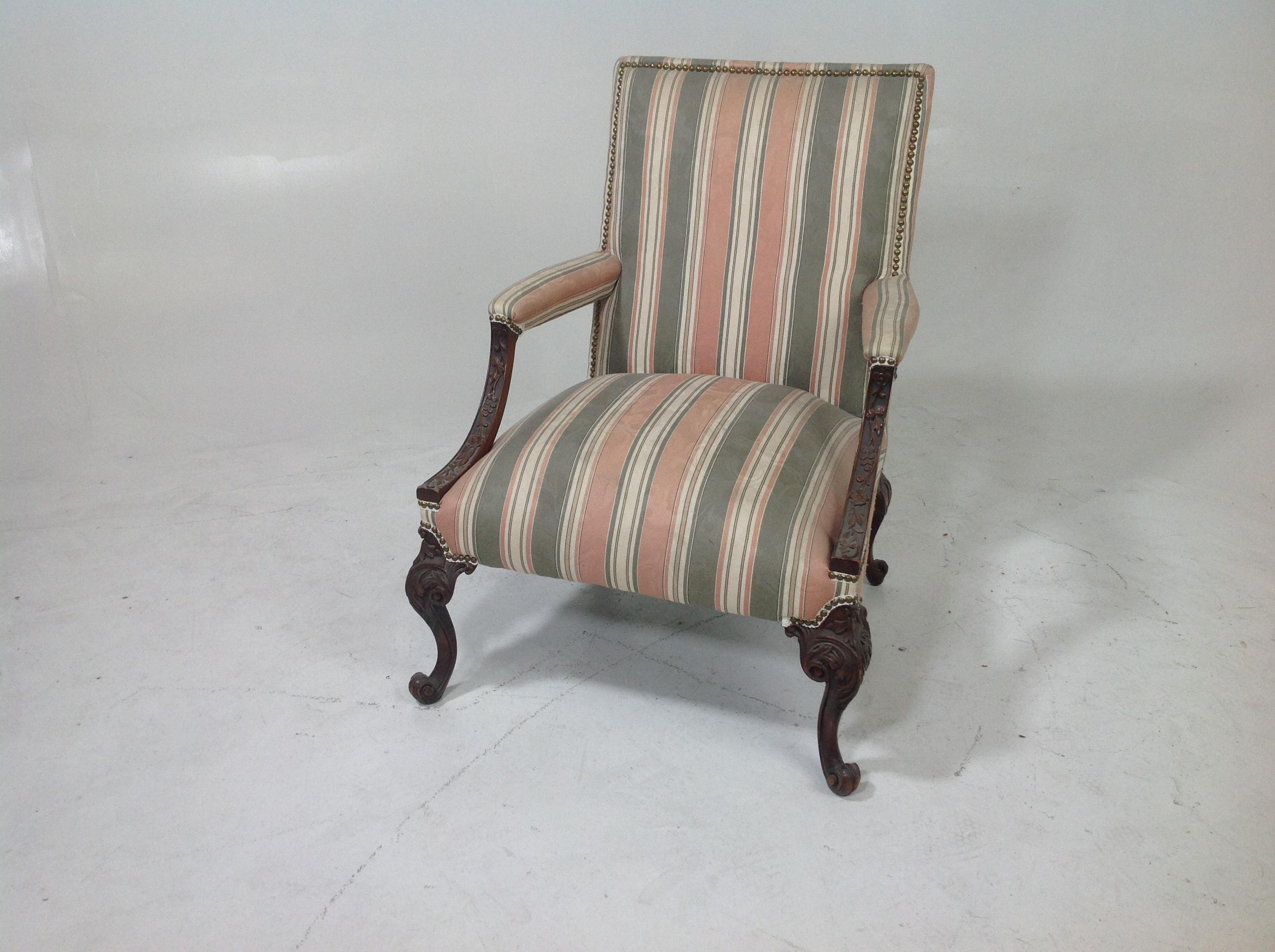 Antique Lounge With Claw Feet. The Wood Is Mahogany And Solid. Chair Is  Circa