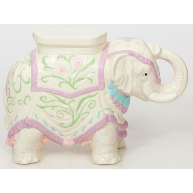 Hollywood Regency Ceramic Elephant Garden Stool or Side Table For Sale - Image 11 of 11