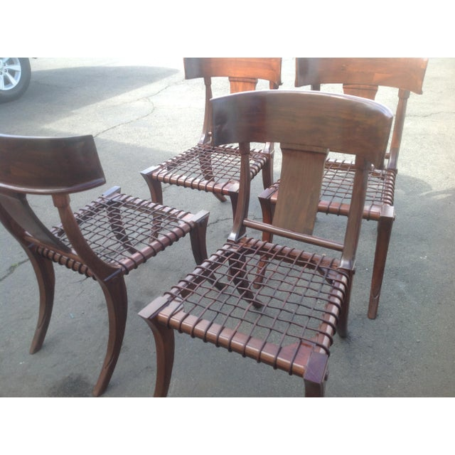 Traditional Modern Mid Century Klismos Style Walnut Dining Chairs -Set of 4 For Sale - Image 3 of 6