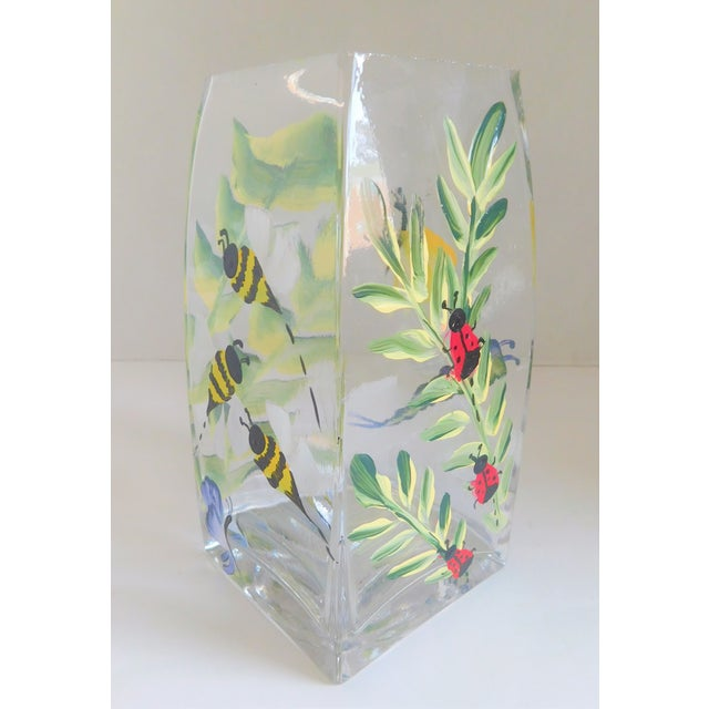 Hand-Painted Vintage Flora & Fauna Glass Vase For Sale - Image 12 of 12