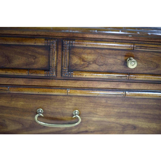 """Drexel Heritage """"Malay"""" Walnut & Faux Bamboo Dresser For Sale - Image 11 of 13"""