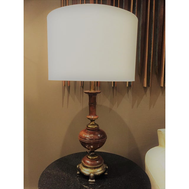 """Mid century """"Hollywood Regency - Traditional"""" style, real wood and brass finish footed lamp -plus- 18""""W x 12""""H neutral..."""