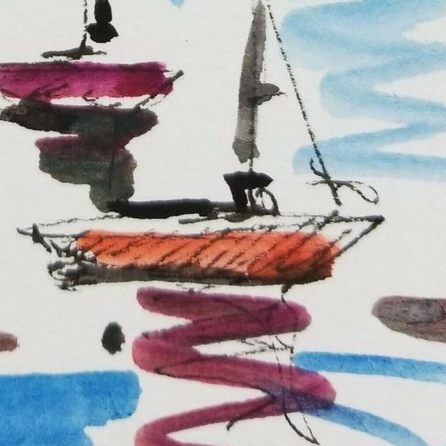 Contemporary Jose Trujillo Original Signed Small Sailboats Watercolor Painting For Sale - Image 3 of 4