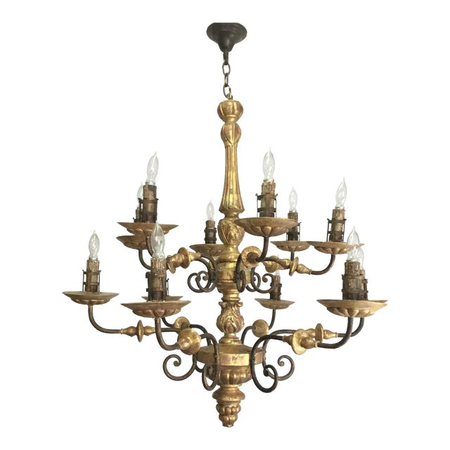 Italian 19th Century Carved Wooden Fragments Chandelier With 12 Arms For Sale