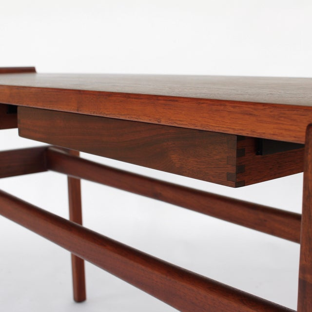 1960s Danish Modern Jens Risom Console Table With 2 Drawers For Sale - Image 9 of 12