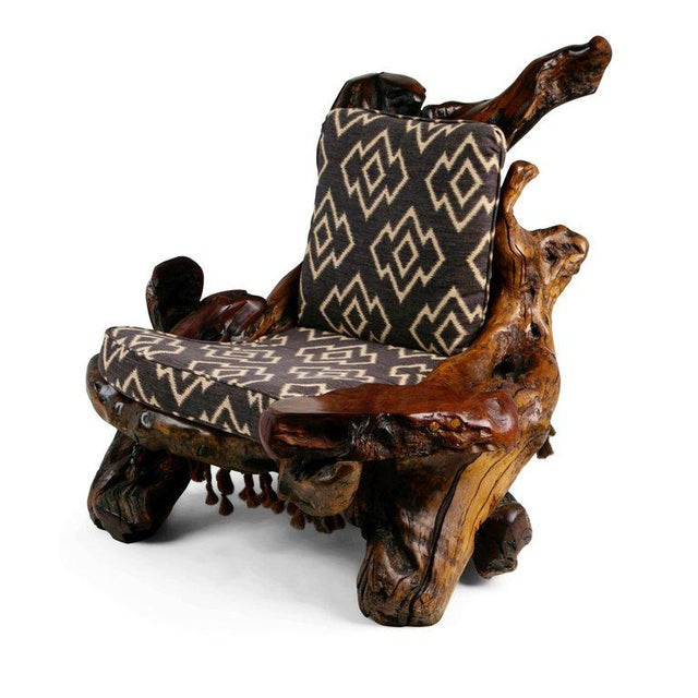 Handcrafted Freeform Live Slab Burl Redwood Armchair by Daryl Stokes For Sale In Los Angeles - Image 6 of 13
