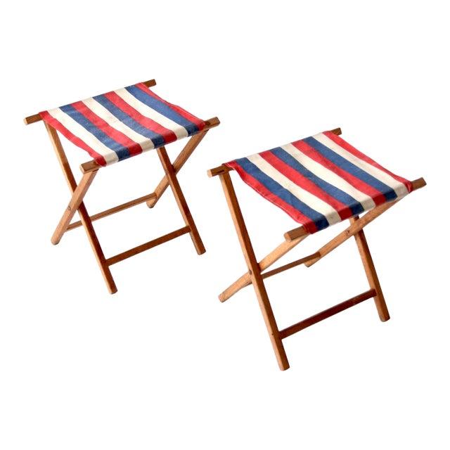 Vintage Striped Camp Stools - Set of 2 For Sale