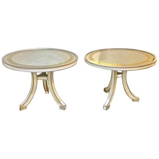 Pair of Compatible Églomisé Top Painted Side, End or Centre Tables For Sale