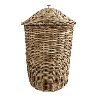 Vintage Wicker Basket With Brass Palm Tree For Sale