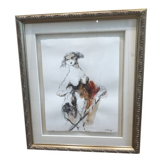 """""""Judith"""" Watercolor and Sketch by Emil Kazaz For Sale"""