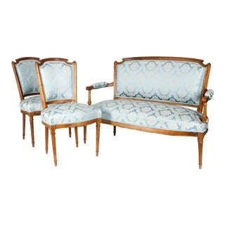 Antique French Settee With Chairs Seating Set - 3 Piece Set For Sale