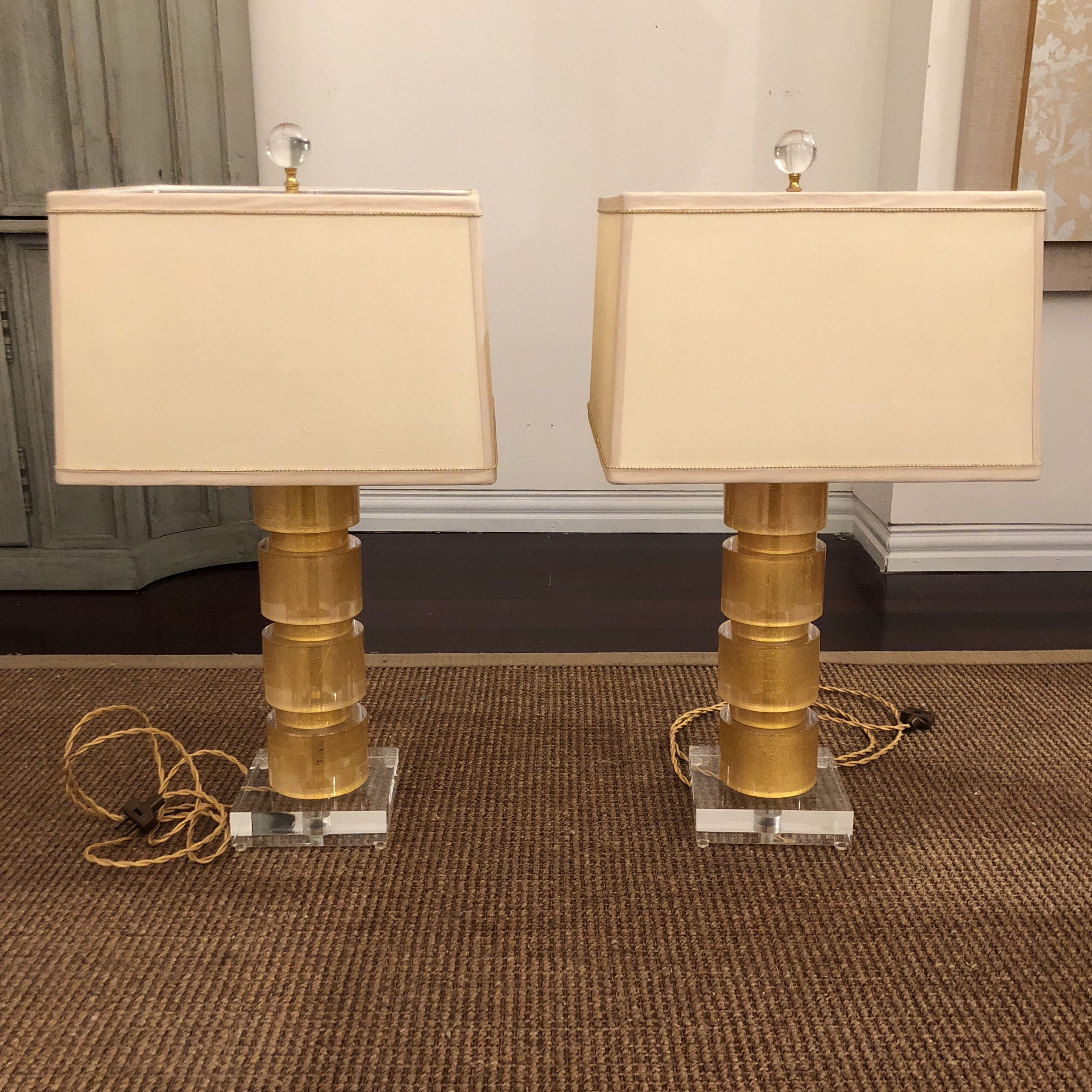 Ordinaire Jan Showers Link Lamps With New Ivory Silk Shaded And Gold Beaded Trim.  Dims On