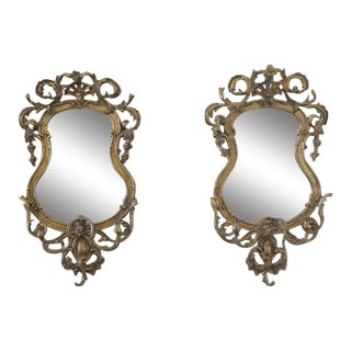 18th Century French Giltwood Rocaille Mirrors - A Pair
