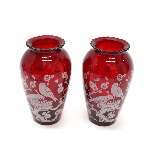 Vintage Etched Cranberry Red Glass Vases - A Pair - Image 3 of 5
